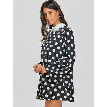 Flat Collar Polka Dot Bell Sleeve Dress - BLACK XL