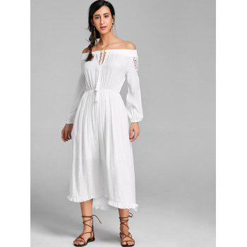 High Low Off The Shoulder Maxi Dress - WHITE WHITE