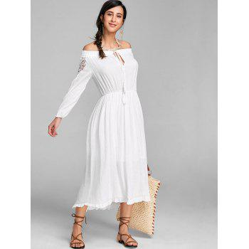 High Low Off The Shoulder Maxi Dress - WHITE M