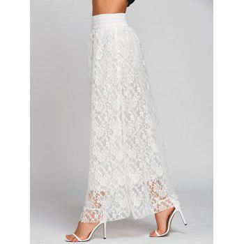 High Waist Lace Maxi Skirt - WHITE WHITE