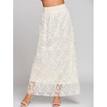 High Waist Lace Maxi Skirt - OFF-WHITE OFF WHITE