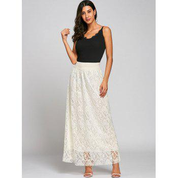 High Waist Lace Maxi Skirt - OFF WHITE M