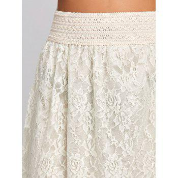 High Waist Lace Maxi Skirt - OFF WHITE S