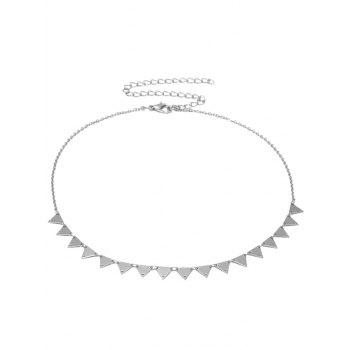 Metal Triangle Charm Collarbone Necklace - SILVER