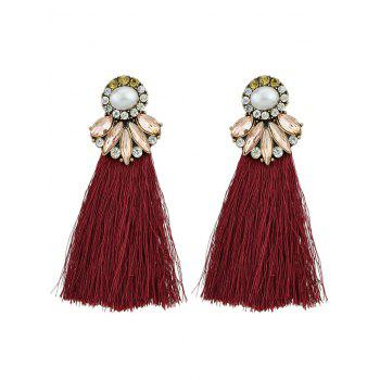 Tassel Faux Pearl and Crystal Drop Earrings - RED RED
