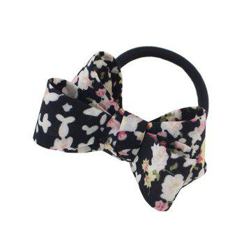Floral Bowknot Decorated Elastic Hair Band - BLACK