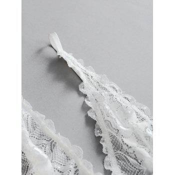 Scalloped Low Cut Sheer Lace Bodysuit - WHITE WHITE