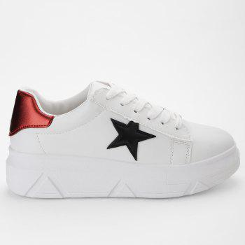 Stitching Star Faux Leather Casual Shoes - RED 39
