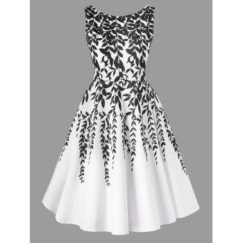 Salix Leaf Printed Sleeveless Flare Dress - WHITE WHITE