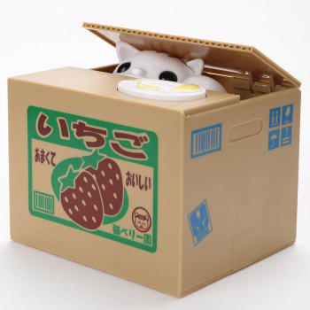 Automatic Stole Coin Cat Shape Money Box - STRAWBERRY PATTERN