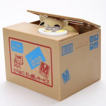 Automatic Stole Coin Cat Shape Money Box - BROWN
