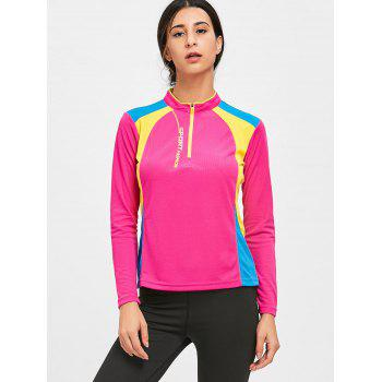 Half Zip Hit Color Cycling T-shirt - TUTTI FRUTTI M