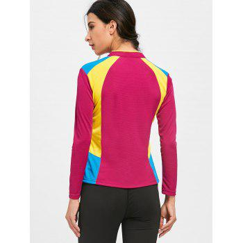 Half Zip Hit Color Cycling T-shirt - DEEP RED DEEP RED