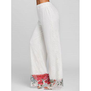 Floral Lace High Waisted Wide Leg Pants - WHITE M