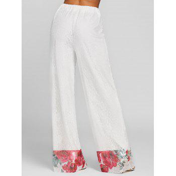 Floral Lace High Rise Wide Leg Pants - WHITE XL