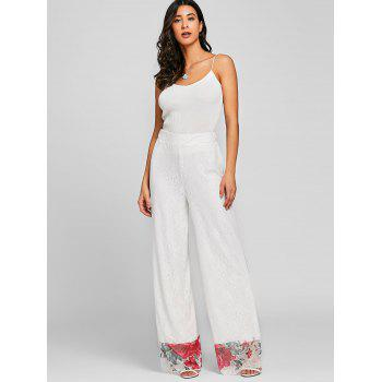 Floral Lace High Waisted Wide Leg Pants - WHITE WHITE