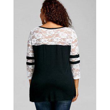 Plus Size V Neck Lace Insert T-shirt - WHITE/BLACK 5XL