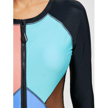 Long Sleeve Half Zip Color Block Swimsuit - SKY BLUE SKY BLUE