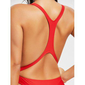 Bralette Backless Monokini Swimsuit - RED RED