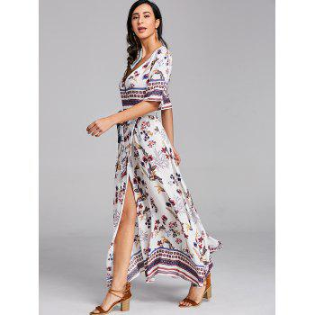 Bohemian Printed Maxi Surplice Slit Dress - WHITE S