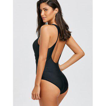 One Piece Cut Out Back Keyhole Swimsuit - BLACK XL