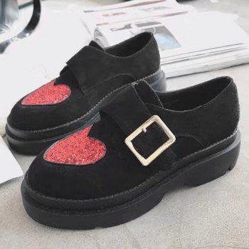 Glitter Buckled Heart Platform Shoes - BLACK 36