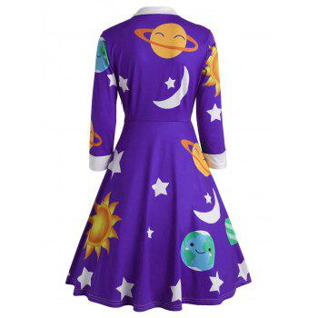 Sun and Moon Print Flare Vintage Dress - PURPLE M