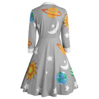 Sun and Moon Print Flare Vintage Dress - GRAY L