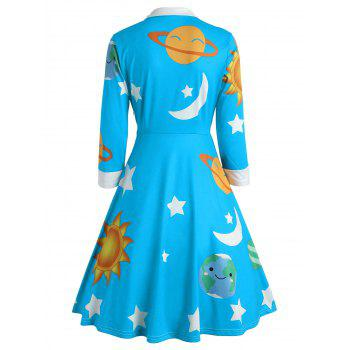 Sun and Moon Print Flare Vintage Dress - LAKE BLUE L
