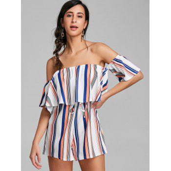 Drawstring Ruffle Striped Off Shoulder Romper - STRIPE STRIPE