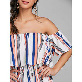 Drawstring Ruffle Striped Off Shoulder Romper - STRIPE XL