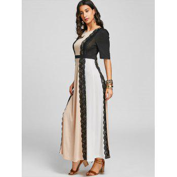 Lace Panel Long Arabic Dress - COLORMIX XL