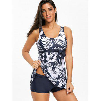 Empire Waist Tropical Print Tankini Set - PURPLISH BLUE L