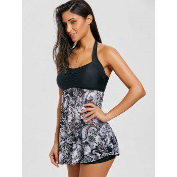Skirted Mesh Sheer Print Tankini Set - GRAY S
