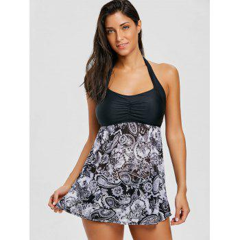 Skirted Mesh Sheer Print Tankini Set - GRAY XS