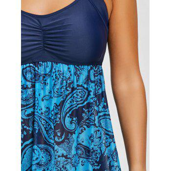 Skirted Mesh Sheer Print Tankini Set - BLUE XS