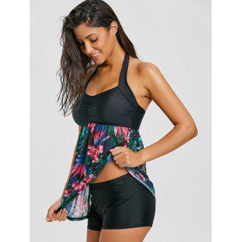 Skirted Mesh Sheer Print Tankini Set - JADE GREEN XS