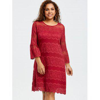 Plus Size Bell Cuff Lace Dress - RED 5XL