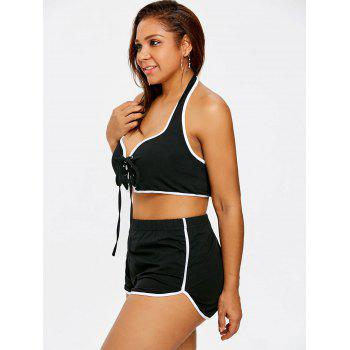 Plus Size Lace Up Sports Twinset - BLACK 2XL
