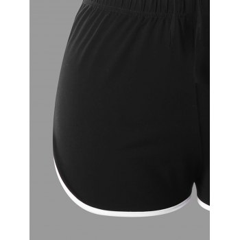 Plus Size Lace Up Sports Twinset - BLACK 4XL