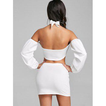 Puff Sleeve Bandeau Top and Mini Skirt - WHITE M