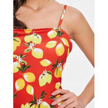 Open Back Lemon Print Mini Dress - RED S
