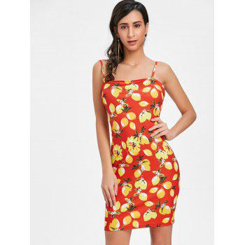 Open Back Lemon Print Mini Dress - RED XL