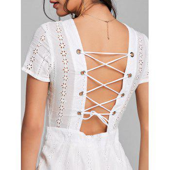 Plunging Neck Backless Lace Up Romper - WHITE L