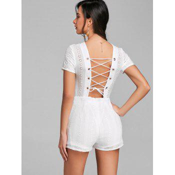 Plunging Neck Backless Lace Up Romper - WHITE XL