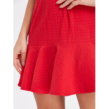 Flounce Square Neck Textured Mini Dress - RED M