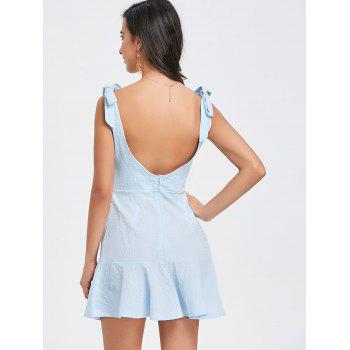 Flounce Square Neck Textured Mini Dress - BLUE XL