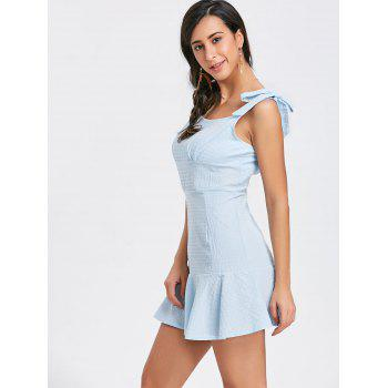 Flounce Square Neck Textured Mini Dress - BLUE L