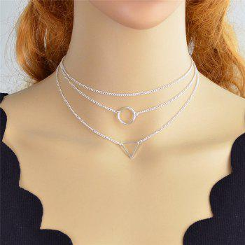Layered Metal Circle Triangle Pendant Necklace Set - SILVER