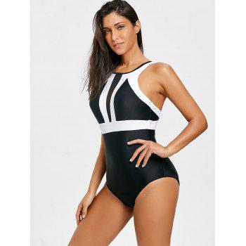 Padded Two Tone One Piece Swimsuit - BLACK XL